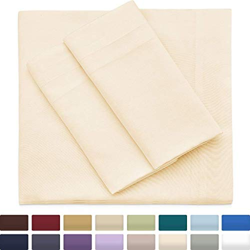 Premium Bamboo Bed Sheets - King Size, Cream Sheet Set - Deep Pocket - Ultra Soft Cool Bedding - Hypoallergenic Blend From Natural Bamboo - 1 Fitted, 1 Flat, 2 Pillow Cases - 4 Piece
