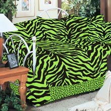 Lime Green Zebra Daybed Cover Set and ONE Matching Valance/Drape Set - (1 Daybed Comforter, 3 Standard Shams, 1 Daybed Bedskirt, 1 Matching Valance/Drape Set) - SAVE BIG ON BUNDLING!