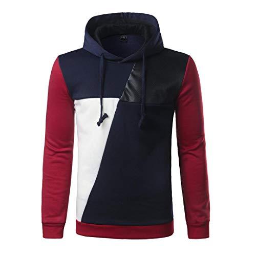 FORUU Men Long Sleeve Hoodie Stitching Color Coat Jacket Outwear Sport Tops NY M ()