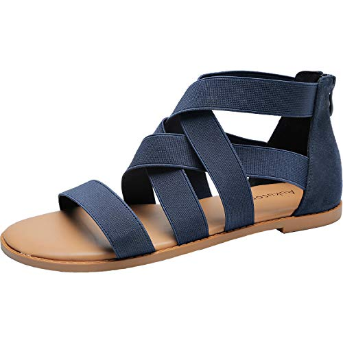 (Women's Wide Width Flat Sandals - Open Toe One Band Ankle Strap Flexible Buckle Gladiator Casual Summer Shoes.(181162 BlueMF)