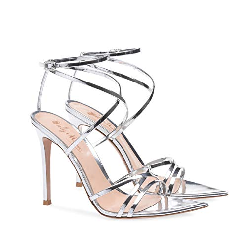 174f366b7059 onlymaker Women s Sexy Ankle Strap Gladiator Stilettos Pointed Open Toe  High Heels Sandals