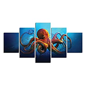 Meigan Art- 5 Pieces Deep-sea Octopus Wall Art Painting The Picture Print On Canvas Animal Pictures for Home Decor Decoration Gift