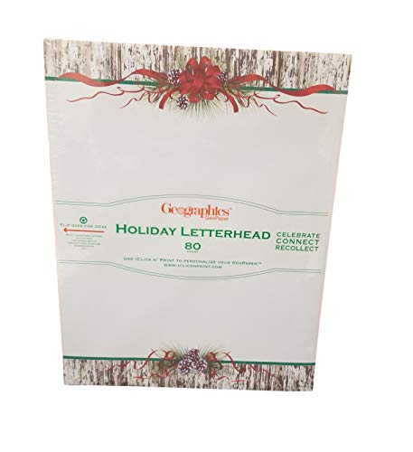 Geographics Pinecones Ribbon Christmas Letterhead, 8.5 x 11 Inches, Design, 80-Sheet Pack (48508) (Geographics Paper Christmas)