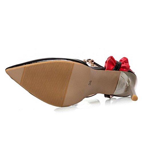 TAOFFEN Women Fashion Party Sandals Stiletto Over Size Black PoRew3Xuh1