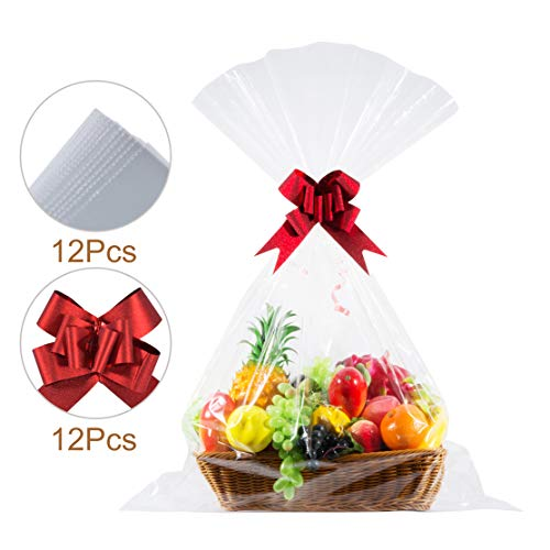 Jakie-Mar Clear Basket Bags 30″x40″Large Clear Cellophane Wrap 1.5 Mil Thick cellophane Gift Bags for Baskets and Gifts (12pcsbasket Bags+12pcs Gift Basket Pull Bows)