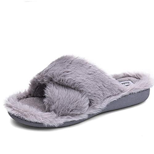 Moda Chics Womens Cozy Comfort Memory Foam Slide House Slippers Faux Fur Plush Soft Non Slip Mule Flip Flops