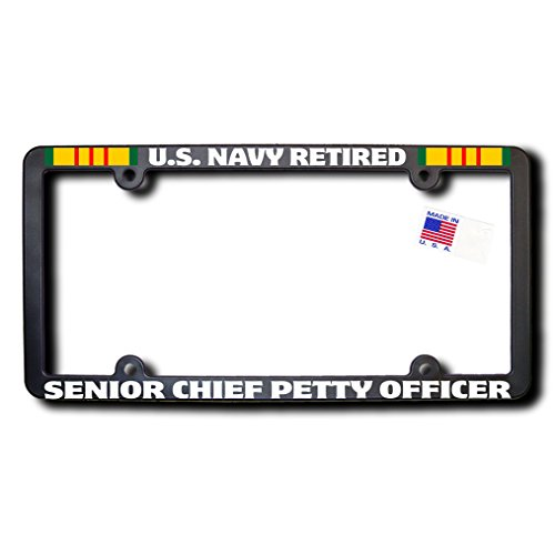 James E. Reid Design US Navy Retired Senior Chief Petty Officer License Frame w/Reflective Text & Vietnam Ribbons