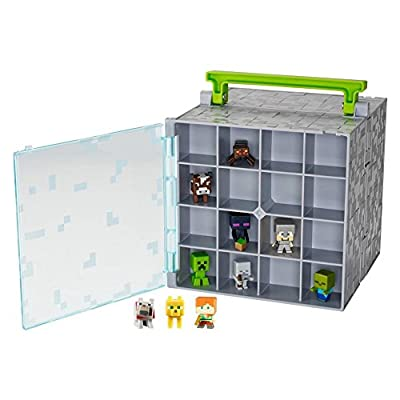 Minecraft Mojang Mattell Mini Figure Collector case holds 32 with 10 Mini Figures included by Mattel