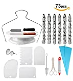 73 Pcs Cake Decorating Supplies Kit | Cupcake Baking Set with Russian Piping Tips and More