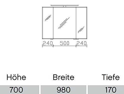 A++ 98 x 70 x 17 cm//EEK PELIPAL Solitaire 6005 Spiegelschrank//Wei/ß