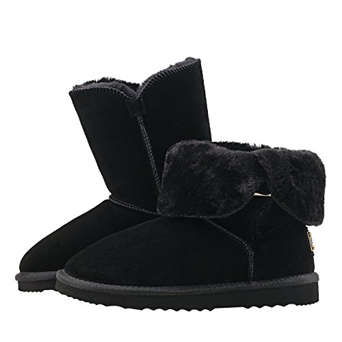 Calf Mid Leather Shenduo Boots Boots Classic DA5803 Button Snow Women's Suede Black2 UYx0TUF