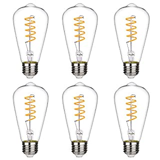 BORT (ST64/ST19) Vintage LED Edison Bulbs, 4.5W, Warm White 2700K, Antique LED Filament Light Bulbs, Dimmable, 40W Equivalent, 450LM, E26 Standard Base, Clear Glass (4.5W-2700K-6 Pack)