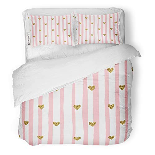 Emvency 3 Piece Duvet Cover Set Brushed Microfiber Fabric Breathable Gold Cute Pink Stripes and Hearts Valentine Day Pattern Bedding Set with 2 Pillow Covers Twin Size