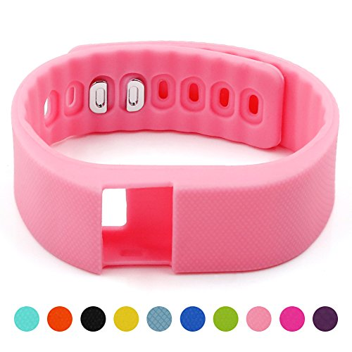 Soft Silicone Band for Teslasz Fitness Tracker in 10 Colors - Pink
