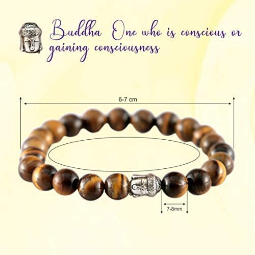 Beads Size - 7-8 mm Aatm Natual Healing Gemstone Tiger Eye Buddha Beaded Charm Bracelet for Healing and Meditation