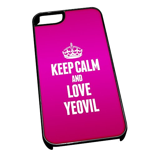 Nero Cover per iPhone 5/5S 0752 Pink Keep Calm e Love Yeovil