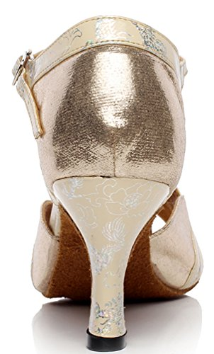 Heel AQQ Party Strap Toe Tango T Shoes Mid PU Womens Wedding 6222 Dance Salabobo Peep golden dIq0H7wzdx