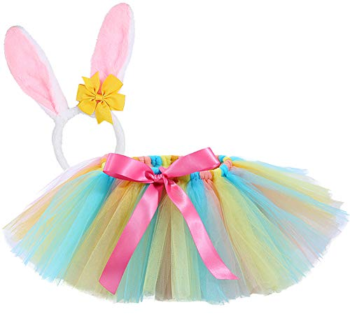Tutu Dreams Girls Easter Rabbit Costume Tutu Outfit Kids Birthday Party Pageant (Medium, Easter) ()