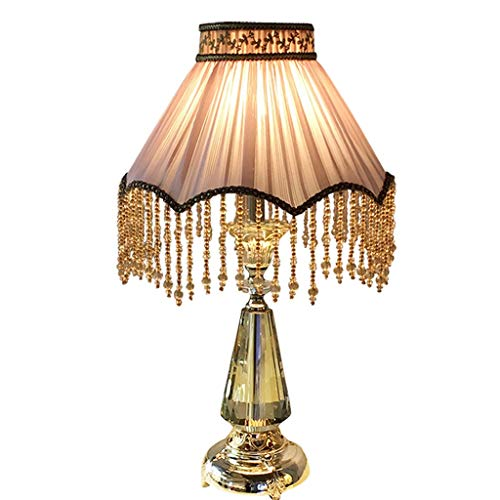 - C & S European Style Fringe Luxurious Crystal Table Lamp Luxurious Romantic Warm Light Bedroom Bedside Villa Pink Desk Lamp