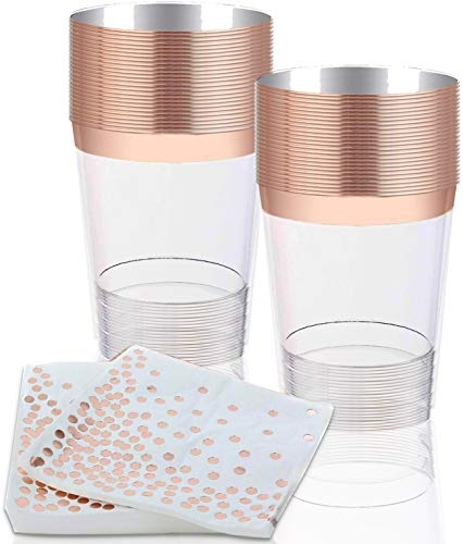 Rose Gold Plastic Cups (10 oz - 50 pack) With Matching Napkins (6.5