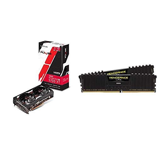 Sapphire 11293-01-20G Radeon Pulse RX 5700 Xt 8GB GDDR6 HDMI/ Triple DP OC w/ Backplate (UEFI) & Corsair Vengeance LPX 16GB (2x8GB) DDR4 DRAM 3200MHz C16 Desktop Memory Kit - Black