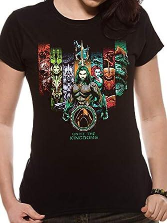 Women/'s Aquaman Movie Unite The Kingdoms Fitted T-Shirt
