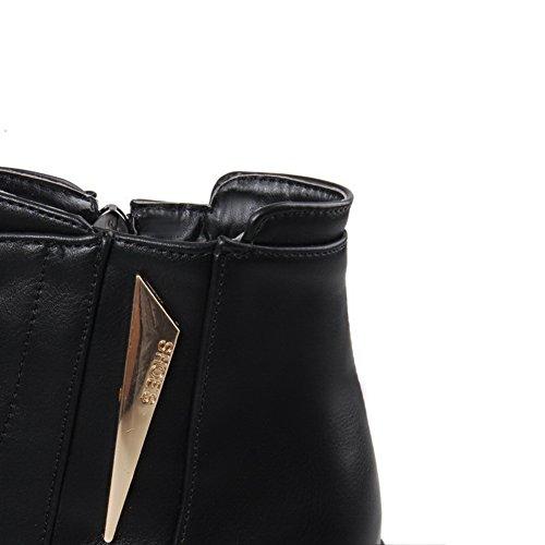 Balamasa Damene Bandasje Plattform Kvadratmeter Hæler Imiterte Lærstøvler Svart
