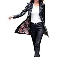 5e8ab3898b26a Faux Leather Jacket Women s Fashion PU Leather Suede Trench Overcoat Plus  Size Casual Motorcycle jacket Lightweight