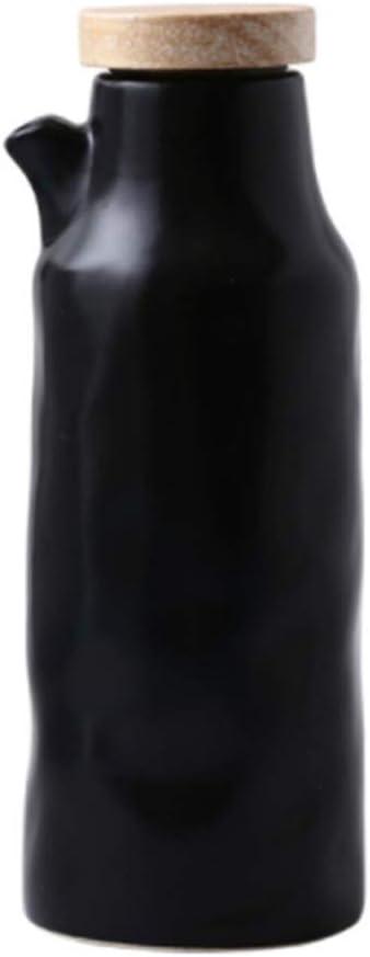 UPKOCH Botellas de cerámica para dispensador de aceite, aceite de oliva, salsa de soja, vinagre o líquido para condimentos, lata de almacenamiento para cocina (blanco) 400 ml 400 ml negro