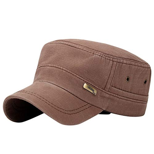 (Fiaya Men Women Baseball Cap Snapback Hat Flat Roof Military Hat Cadet Patrol Bush Field Cap (1PC, Brown Letter))