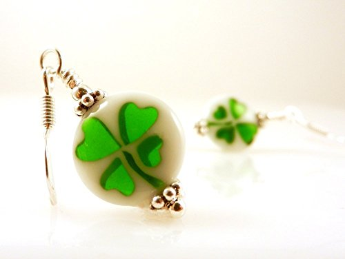 Shamrock Four Leaf Clovers Good Luck Earrings with Silver Toned Earwires