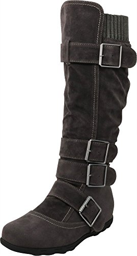 Cambridge Select Women's Buckle Sweater Knee High Flat Boot (9 B(M) US, Charcoal Grey) ()