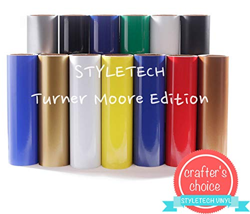 """Styletech Gold Vinyl Adhesive, 12"""" x 15FT roll, for Cricut, Silhouette, Signs, Scrapbooking, Stickers, Decals, Banners, Labels, Crafts x Turner Moore Edition (Gold Adhesive Vinyl, 15FT)"""