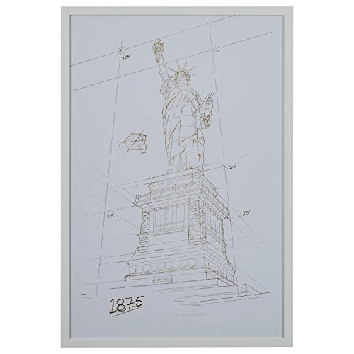 Modern Gold/White and White Print of Statue of Liberty, White Frame, 32'' x 47'' by Stone & Beam