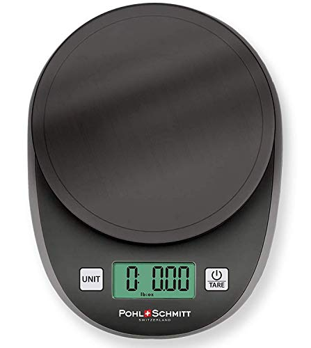 Pohl+Schmitt Digital Kitchen Mechanical Scale, 30% Greater Accuracy Quad Transducer, Multi-Function Back-Lit LCD, Stainless Steel, 11 lbs, 5 kg (Batteries Included), Black