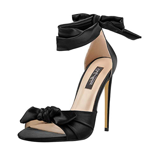 Satin Bow High Heel Sandal - Onlymaker Women's Ankle Strap Lace Up Heels for Women Open Toe Bow Casual Men's Sandals Black Size 14