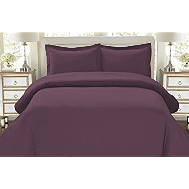 Hotel Luxury 3pc Duvet Cover Set-ON SALE TODAY-1500 Thread Count Egyptian Quality Ultra Silky Soft Top Quality Premium Bedding Collection, 100% Money Back Guarantee -King Size Eggplant
