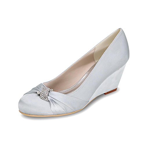 9140 Heeled YC High Multicolored Shoes Toe Shoes L Silver Wedge 22 Women'S Ballet Wedding q8xdx0nXw
