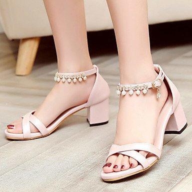 LvYuan Mujer-Tacón Robusto-Confort-Sandalias-Oficina y Trabajo Vestido Informal-Semicuero-Azul Rosa Blanco Pink