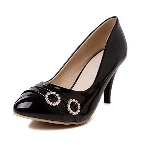 Cuir Mélangées Rond Stylet Pu Légeres Agoolar Tire Couleurs Chaussures Femme Noir wAqIgg1