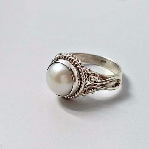 (Genuine Fresh Water Pearl 925 Solid Sterling Silver Handmade Ring Size 4-13 US)