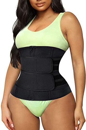 Women's Waist Trainer Weight Loss Corset Trimmer Belt Waist Cincher Body Shaper Slimming Sports Girdle Tummy Wrap Shaper Belly Fat Burning Sweatband Workout Slimming (Black, S)