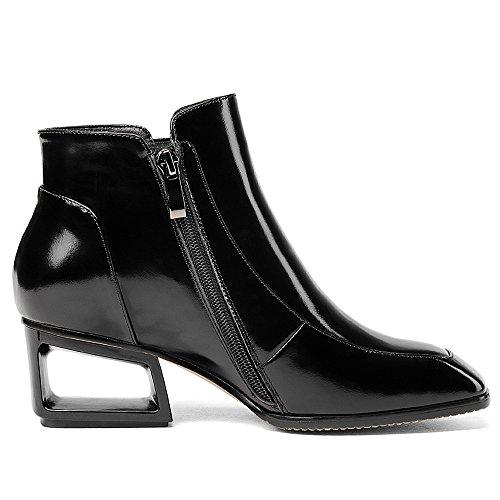 Nueve Siete De Cuero Genuino Para Mujer Square Toe Exquisito Talón Único Hecho A Mano De Moda Lindos Botines Negro