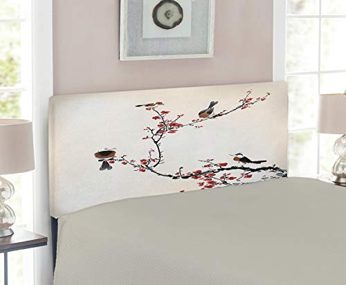 Cherry Headboard Size Twin (Ambesonne Nature Headboard for Twin Size Bed, Birds on Cherry Tree Branches Summer Classic Oriental Artful Illustration, Upholstered Metal Headboard for Bedroom Decor, Ruby Pale Caramel)