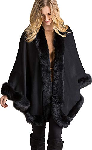 Overland Sheepskin Co Jodie Cashmere Cape with Fox Fur Trim
