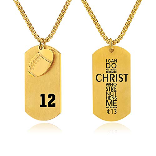 Bible.Shop Men's Football Player Number 12 Stainless Steel Cross Dog Tag Pendant I Can Do All Things Bible Verse Necklace - Gold England Patriots Football New
