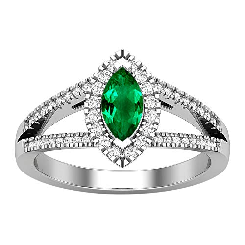 House of Kanak LLC 1.55 Ct Created Emerald halo Marquise Engagement Ring 14K White Gold 8.5