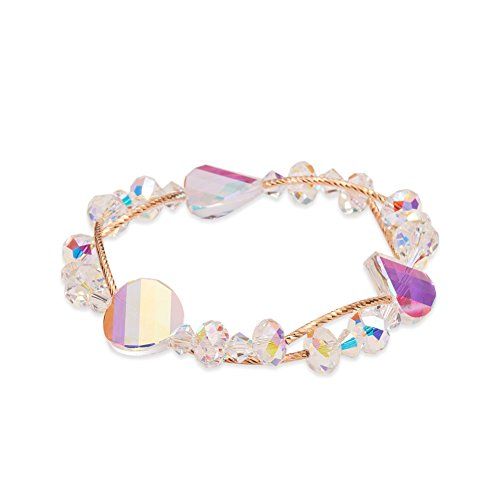 Sweetie-Stylish Autriche Cristal Etendue Bracelet, Avec Courbe Rose Or Plaque 925 Pur Argent Tube Perles, Colore, 240mm