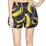 XULANG Women's Pop Art Banana Black Pattern Swimming Trunks Jogging Swimsuits Casual Sport Boardshorts