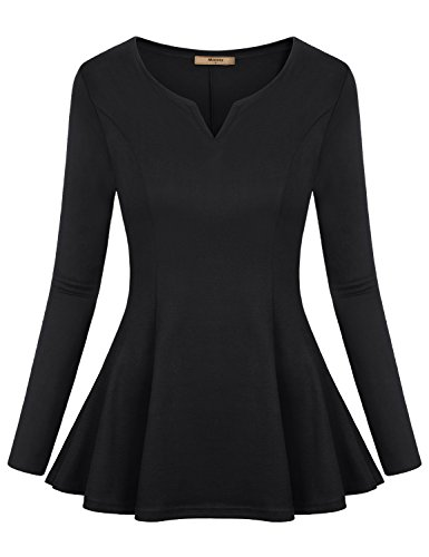 (Miusey Long Sleeve T Shirt Women, Ladies V Neck Henley Blouse Loose Fitted Flowy Pleats Ruffled Hem Casual Tunic Peplum Tops Black Medium)